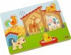 HABA 303179 - Sound-Greifpuzzle, Auf dem Land, Bauernhof, Holzpuzzle mit Tierstimmen, Kinderpuzzle, 6 Teile