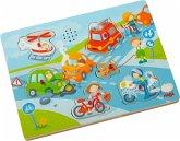 HABA 303180 - Sound-Greifpuzzle, In der Stadt, Holzpuzzle, Kinderpuzzle, 6 Teile