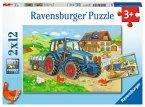 Ravensburger 07616 - Baustelle und Bauernhof, 2x12 Teile, Puzzle