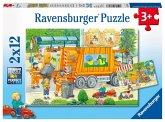 Ravensburger 07617 - Unterwegs mit Müllabfuhr und Kehrmaschine, 2x12 Teile, Puzzle