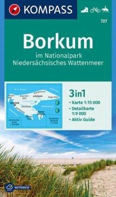 KOMPASS Wanderkarte Borkum im Nationalpark Niedersächsisches Wattenmeer