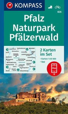 KOMPASS Wanderkarte Pfalz, Naturpark Pfälzerwald