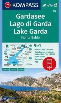 KOMPASS Wanderkarte Gardasee, Lago di Garda, Lake Garda, Monte Baldo