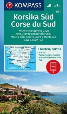 KOMPASS Wanderkarte Korsika Süd, Corse du Sud, Weitwanderweg GR20