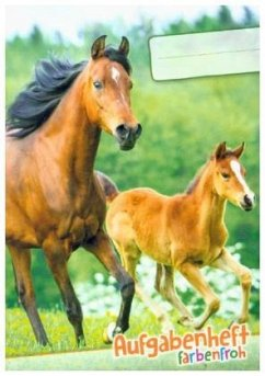 """Lernfreunde Aufgabenheft Farbenfroh Mini A6 1 Schuljahr Motiv """"Pferde"""" EH, Zusatz sortenrein"""