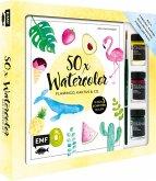 50 x Watercolor - Flamingo, Kaktus & Co. - Das Starter-Set - Die beliebtesten Aquarellmotive in nur 5 Schritten malen