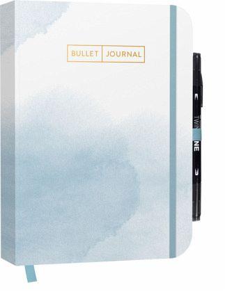 Bullet Journal Leaves 05 mit original Tombow TwinTone Dual-Tip Marker 86 mint green: Mit Punkteraster Seiten f/ür Index praktischem Verschlussband und Innentasche Key und Future Log sowie ..