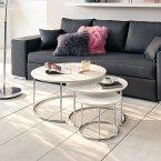 miaVILLA Couchtisch-Set, 3-tlg. Cara Weiß/Silberfarben