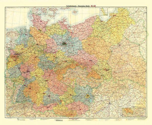 Deutsches Reich Karte.Historische übersichtskarte Deutsches Reich Verkehrskarte November 1942