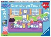 Ravensburger 09099 - Pegga Pig, Peppa in der Schule, 2x24 Teile, Puzzle