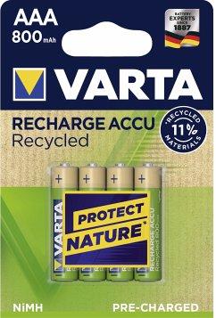 10x4 Varta RECHARGE ACCU Recycled 800 mAH AAA Micro NiMH