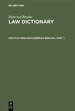 Law DictionaryDeutsch-Englisch/German-English (eBook, PDF)