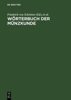 Wörterbuch der Münzkunde (eBook, PDF)