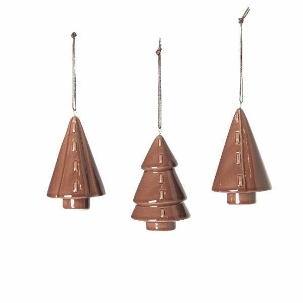 Broste Copenhagen Weihnachtsschmuck Porzellan 3er Baum Rotbraun