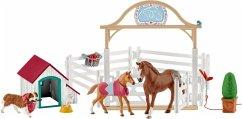 Schleich 42458 - Horse Club, Hannahs Gastpferd mit Hündin Ruby, Spielset, Pferde