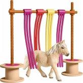 Schleich 42484 - Farm World, Pony Flattervorhang, Spielfigurenset, Ponys, Pferde