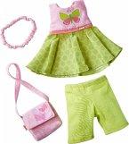 HABA 304253 - Kleiderset Schmetterling, Set aus Kleid, Hose, Handtasche und Haarband, Puppenzubehör für alle 30 cm großen HABA Puppen