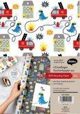 Geschenkpapier-Set für Kinder, Feuerwehr/Dinosaurier