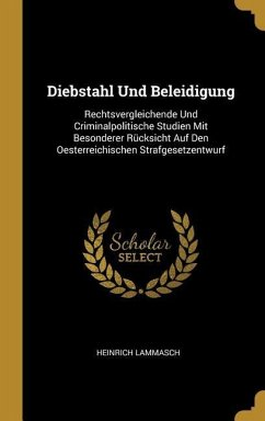 Diebstahl Und Beleidigung: Rechtsvergleichende Und Criminalpolitische Studien Mit Besonderer Rücksicht Auf Den Oesterreichischen Strafgesetzentwu