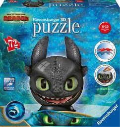 Ravensburger 11145 - Dragon 3, The Hidden World, Ohnezahn mit Ohren, Puzzleball, 3D Puzzle, Kinderpuzzle, 72 Teile