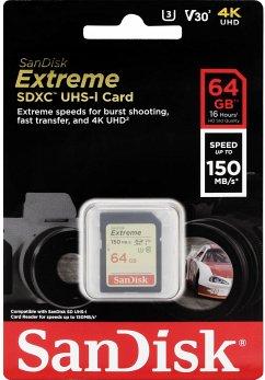 SanDisk Extreme SDXC Video 64GB 150MB V30 U3 SDSDXV6-064G-GNCIN