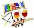 Mertens 86590 - Musik Set, 4 Teile: Xylophon, Schellenstab, Kastagnetten und Triangel