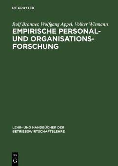 Empirische Personal- und Organisationsforschung (eBook, PDF) - Wiemann, Volker; Appel, Wolfgang; Bronner, Rolf
