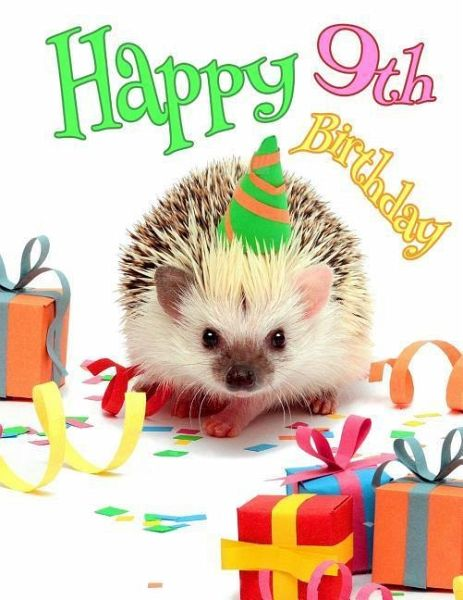 Happy 9th Birthday Cute Hedgehog Party Themed Journal Better Than A Card