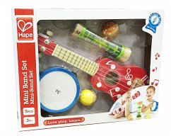 Hape E0339 - Mini-Band Set, Ukulele, Tamburin, Kastagnette, Rassel und Regenmacher, Musikinstrumente