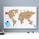 Magnetwand-Weltkarte zum Freirubbeln Weiß/Goldfarben