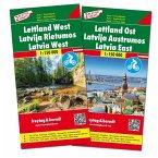 Freytag & Berndt Auto + Freizeitkarte Lettland, Autokarten Set 1:150.000, Top 10 Tips, 2 Blätter