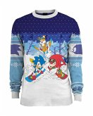Sonic the Hedgehog Skiing Xmas Pullover, Größe L, Strickpullover