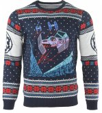Star Wars Tie Fighter: Battle of Yavin, Xmas Pullover, Größe M, Strickpullover