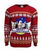 Sonic the Hedgehog Xmas Pullover, Größe M, rot, Strickpullover