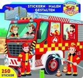 Unsere Feuerwehr - Stickern . Malen . Gestalten