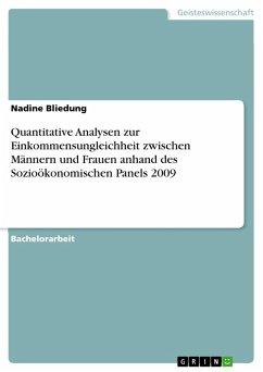 Quantitative Analysen zur Einkommensungleichheit zwischen Männern und Frauen anhand des Sozioökonomischen Panels 2009 (eBook, PDF)