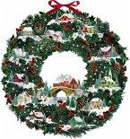 Wand-Adventskalender - Winterhäuschen-Weihnachtskranz