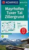KOMPASS Wanderkarte Mayrhofen, Tuxer Tal, Zillergrund