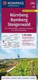 KOMPASS Fahrradkarte Nürnberg, Bamberg, Steigerwald 1:70.000