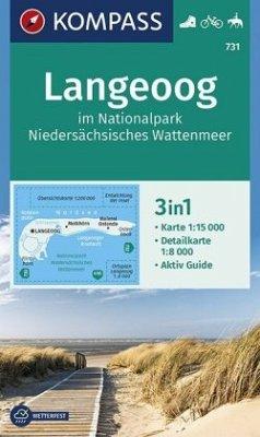 KOMPASS Wanderkarte Langeoog im Nationalpark Niedersächsisches Wattenmeer