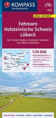 KOMPASS Fahrradkarte Fehmarn, Holsteinische Schweiz, Lübeck 1:70.000