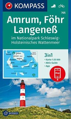 Kompass Karte Amrum, Föhr, Langeneß im Nationalpark Schleswig-Holsteinisches Wattenmeer