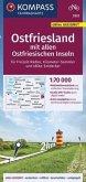 KOMPASS Fahrradkarte Ostfriesland mit allen Ostfriesischen Inseln 1:70.000