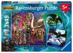 Ravensburger 08064 - Dragon, Drachen, Drachenzähmen leicht gemacht, Puzzle, Kinderpuzzle, 3x49 Teile