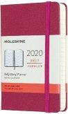 Moleskine 12 Monate Tageskalender 2020 Pocket/A6, 1 Tag = 1 Seite, Fester Einband, Dunkelrosa