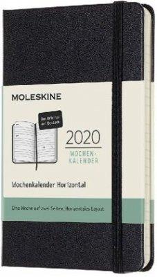 Moleskine 12 Monate Wochenkalender Deutsch 2020 Pocket/A6, 1 Wo = 2 Seiten, Horizontal, Fester Einband, Schwarz