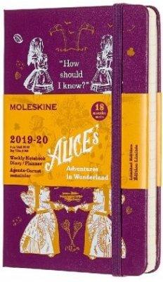 Moleskine 18 Monate Wochen Notizkalender - Alice im Wunderland 2019/2020 Pocket/A6, 1 Wo = 1 Seite, Liniert, Fester Einband, Lila