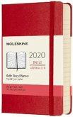 Moleskine 12 Monate Tageskalender 2020 Pocket/A6, 1 Tag = 1 Seite, Fester Einband, Scharlachrot