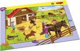 HABA 304654 - Rahmenpuzzle, Pferdehof, Kinderpuzzle