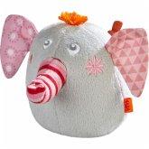 HABA 304724 - Greifling Elefant Nelly, Stoff, grau/rosa